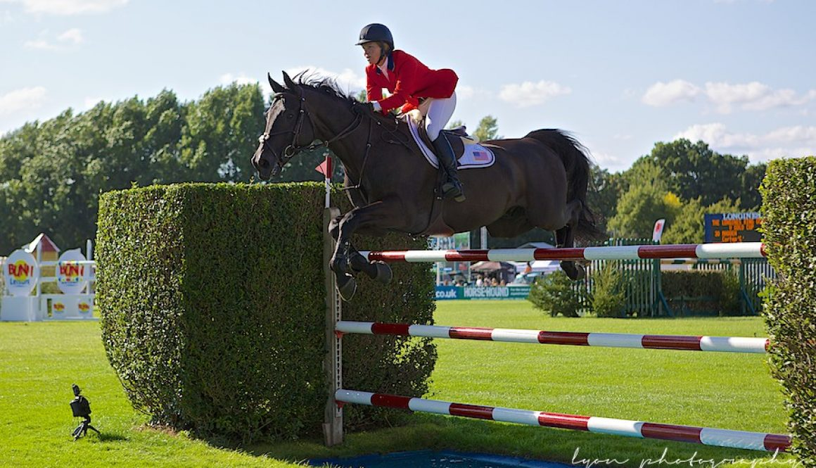 Elizabeth Madden riding Cortes 'C' wins the Longines King George V Gold Cup at Hickstead